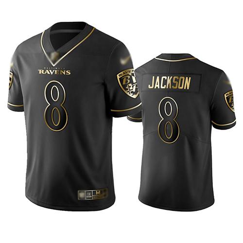 cheap jerseys team Men\'s Baltimore Ravens #8 Lamar Jackson Black ...